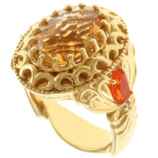 Dallas Prince Gold over Silver Citrine, Fire Opal and White Sapphire Ring