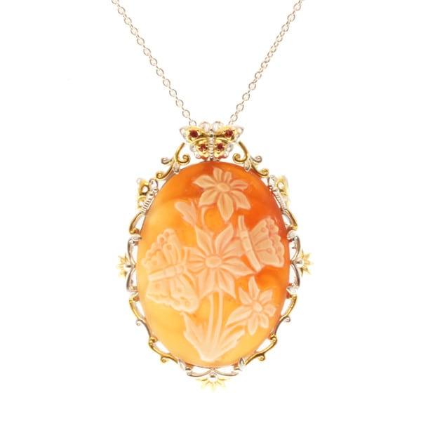 Michael Valitutti Two-tone Shell Cameo and Orange Sapphire Necklace