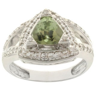 Michael Valitutti 18k White Gold Tashmarine and Diamond Ring