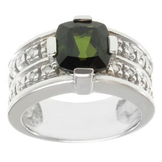 Michael Valitutti Highly Polished 14k White Gold Green Tourmaline and Diamond Ring