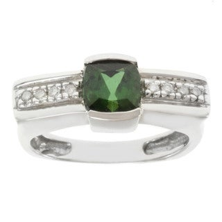 Michael Valitutti 14k White Gold Green Tourmaline and Cushion-cut Diamond Ring