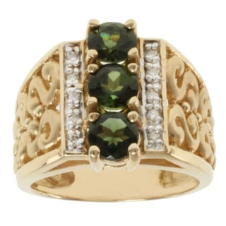 Michael Valitutti 14k Yellow Gold Green 3-stone Tourmaline and Diamond Ring