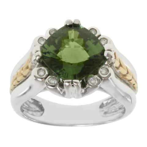 Michael Valitutti 14K Two-tone Gold Cushion-cut Green Tourmaline and Diamond Ring