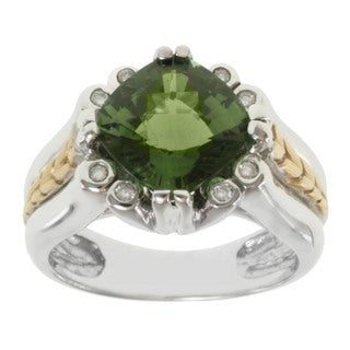 Michael Valitutti 14K Two-tone Gold Cushion-cut Green Tourmaline and Diamond Ring