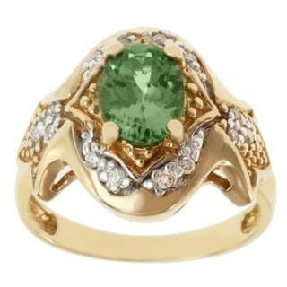 Michael Valitutti 14k Yellow Gold Tsavorite and Diamond Ring