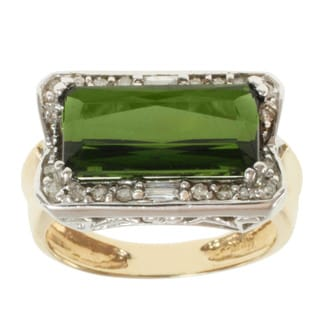 Michael Valitutti 14K Two-tone Gold Prong-set Green Tourmaline and Diamond Ring