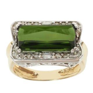 Michael Valitutti 14K Two-tone Gold Prong-set Green Tourmaline and Diamond Ring