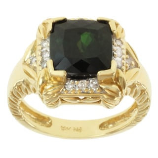Michael Valitutti 18k Yellow Gold Green Tourmaline and Round-cut Diamond Ring
