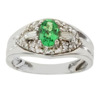 Michael Valitutti 18k White Gold Tsavorite and Diamond Ring