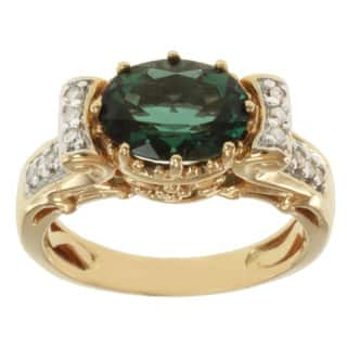 Michael Valitutti 14k Yellow Gold Green Sunstone and Diamond Ring|https://ak1.ostkcdn.com/images/products/8211051/8211051/Michael-Valitutti-14k-Yellow-Gold-Green-Sunstone-and-Diamond-Ring-P15543402.jpg?impolicy=medium