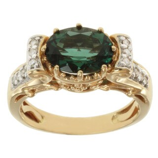 Michael Valitutti 14k Yellow Gold Green Sunstone and Diamond Ring