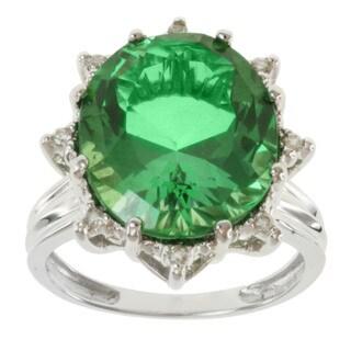 Michael Valitutti 14k White Gold Mint Green Topaz and Diamond Ring