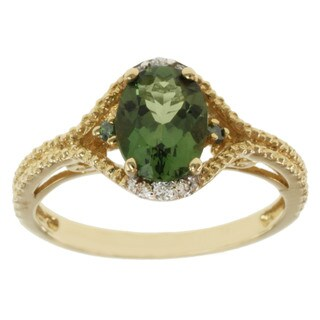 Michael Valitutti 14k Gold Green Apatite and White/ Green Diamond Ring