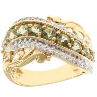 Michael Valitutti 14k Yellow Gold Tashmarine and Diamond Accent Ring