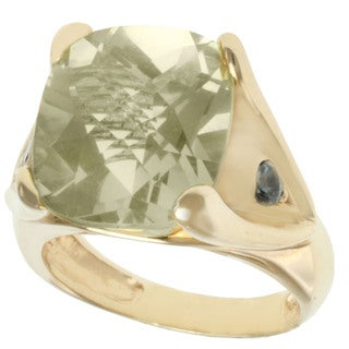 Michael Valitutti 14k Yellow Gold Oro Verde and Green Sapphire Ring