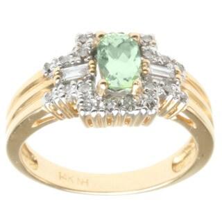 Michael Valitutti 14k Yellow Gold Mint Tourmaline and Diamond Ring