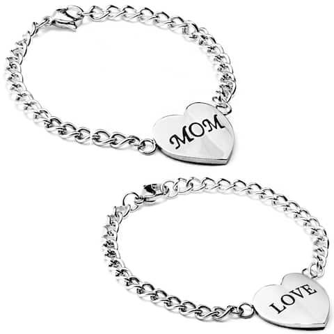 ELYA Stainless Steel Engraved Heart Bracelet