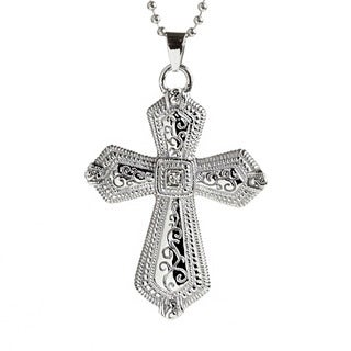 Stainless Steel Men's Cubic Zirconia Antiqued Flared Cross Necklace
