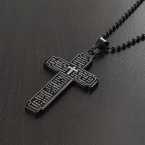 Lord's Prayer Stainless Steel Cross Necklace