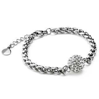 Women's Stainless Steel Colored Crystal-encrusted Sphere Bracelet