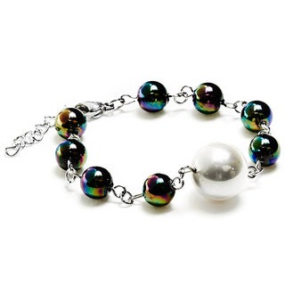 ELYA Stainless Steel White Shell Pearl and Multicolor Glass Bead Bracelet
