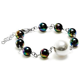 ELYA White Shell Pearl and Multicolor Glass Bead Stainless Steel Bracelet