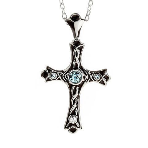 ELYA Stainless Steel Pink or Blue Crystal and Enamel Cross Necklace