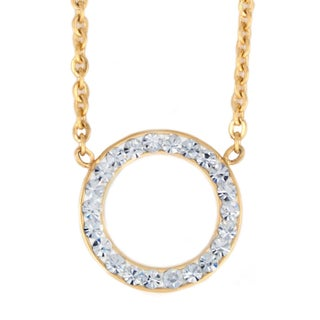 ELYA Crystal Open Circle Stainless Steel Necklace