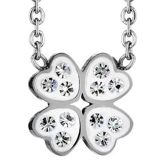 ELYA Stainless Steel Crystal Heart Clover Necklace