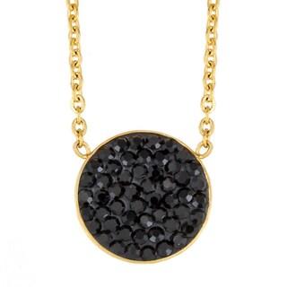 ELYA Stainless Steel Crystal Circle Necklace (Option: Goldtone / Jet)