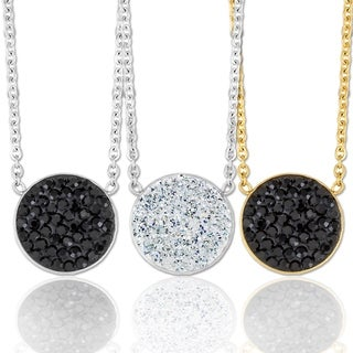 ELYA Stainless Steel Crystal Circle Necklace