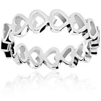 Stainless Steel Open Heart Eternity Ring - Silver
