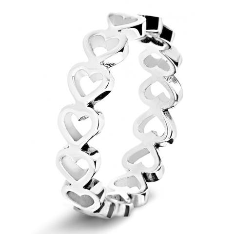 Stainless Steel Open Heart Eternity Ring - Silver