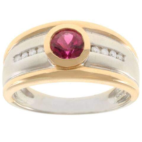 Michael Valitutti 14K Two-tone Gold and Round-cut Rubelite and Diamond Ring