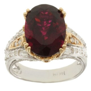 Michael Valitutti 14K Two-tone Gold and Oval-cut Prong-set Rubelite and Diamond Ring