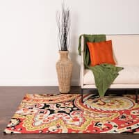 Hand-hooked Charlotte Red Floral Rug - 2'3 x 3'9