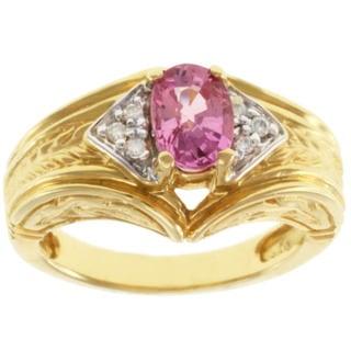 Michael Valitutti 18k Yellow Gold Pink Oval Tourmaline and Diamond Ring