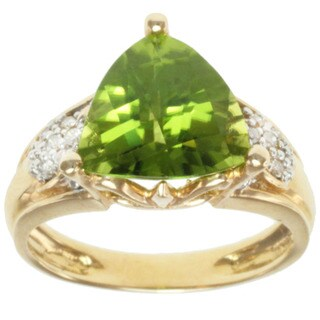 Michael Valitutti 14K Yellow Gold Prong-set Peridot and Diamond Ring
