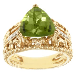 Michael Valitutti 14K Yellow Gold Peridot and Diamond Band-style Ring