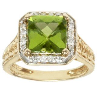 Michael Valitutti 14K Yellow Gold Square Peridot and Diamond Ring