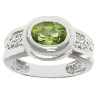 Michael Valitutti 14k White Gold Oval-cut Peridot and Diamond Ring