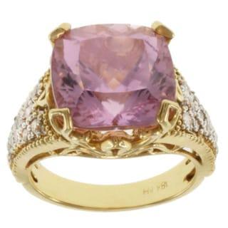 Michael Valitutti 18k Yellow Gold Kunzite and Diamond Ring