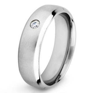 Stainless Steel Clear Cubic Zirconia Solitaire Band