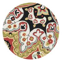 Hand-hooked Red/ Black Multi Floral Round Area Rug - 3' x 3'