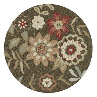 Hand-Hooked Brown Floral Round Area Rug - 3' x 3' Round