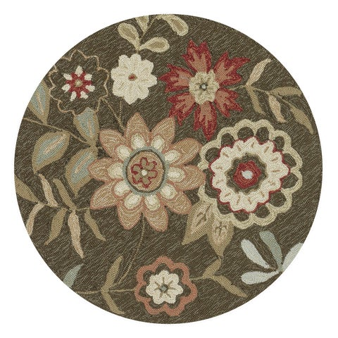 Hand-Hooked Brown Floral Round Area Rug - 3' x 3'
