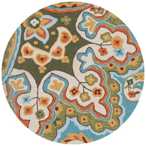Hand-hooked Blue/ Green Floral Round Area Rug - 3' x 3'
