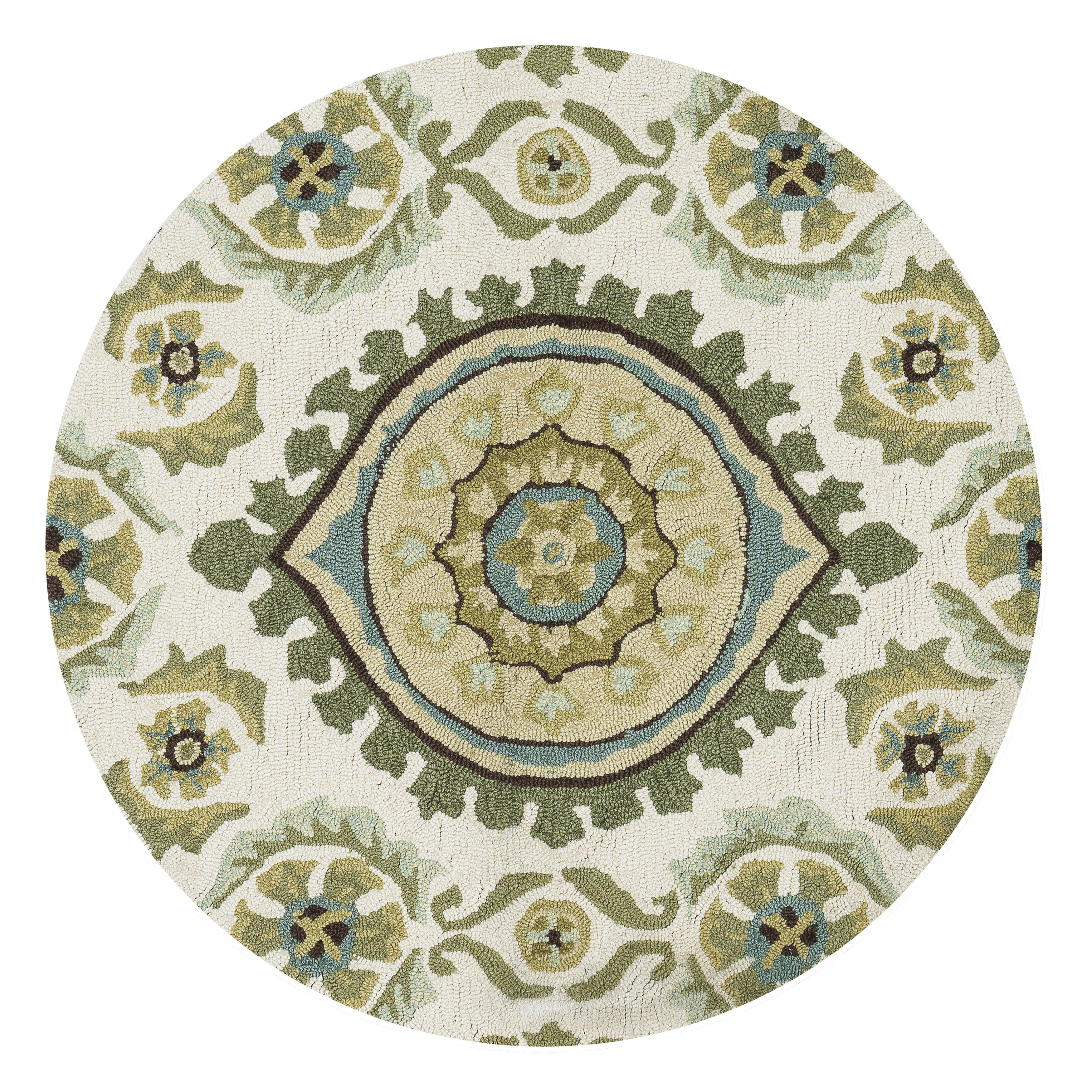 Alexander Home Hand-hooked Charlotte Ivory/ Aqua Rug (3' ...