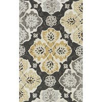 Hand-hooked Charlotte Charcoal/ Multi Rug - 2'3 x 3'9