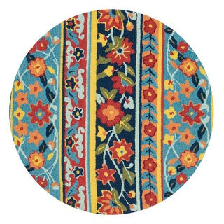 Hand-hooked Charlotte Blue/ Multi Rug (3' Round)
